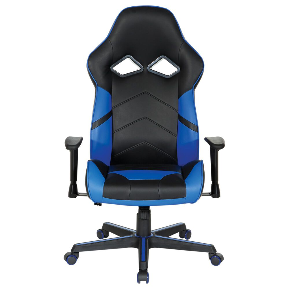 OSP Home Vapor Gaming Chair in Black and Blue, , large