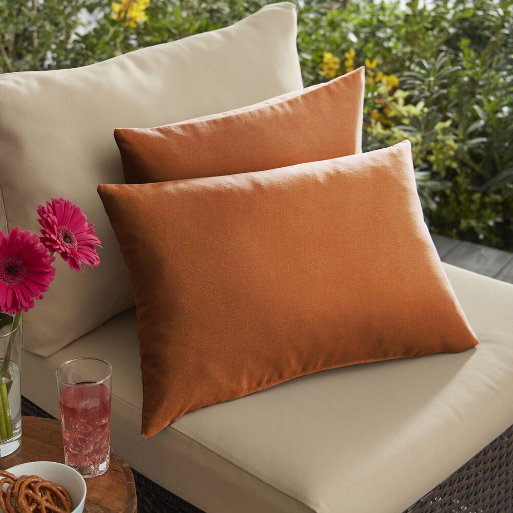 """Sorra Home Sunbrella 13"""" x 20"""" Pillow in Canvas Rust (Set of 2), , large"""