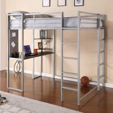 Dorel Abode Full Size Metal Loft Bed in Silver, , large