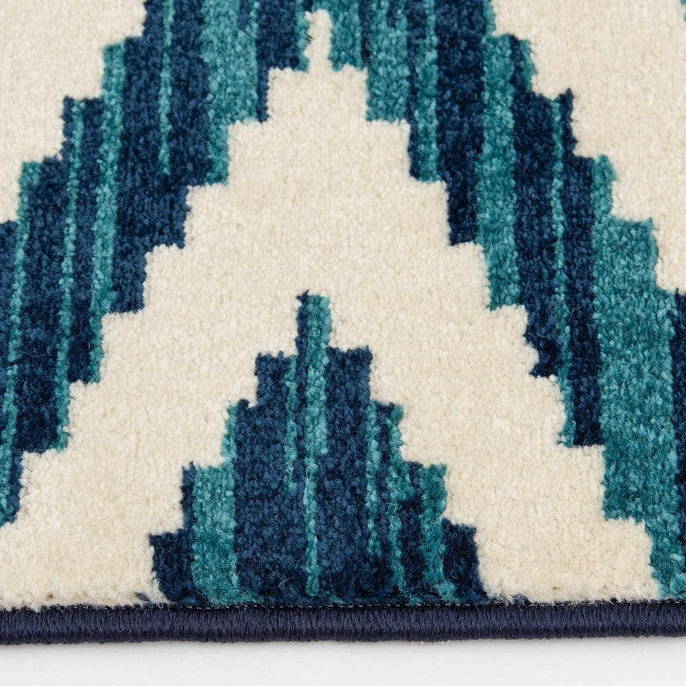 """Central Oriental Terrace Tropic Scalene 2345GGS.085 6'7"""" x 9'6"""" Snow and Sapphire Area Rug, , large"""