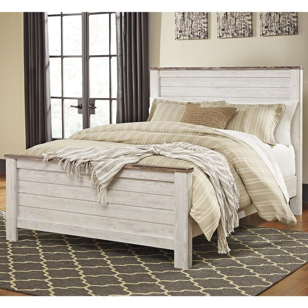 Signature Design by Ashley Willowton Queen Panel Bed in Whitewash, , large