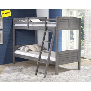 Little Dreamer Louver Twin over Twin Bunk Bed in Antique Grey, , large
