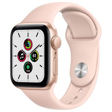 Apple Watch SE GPS, 40mm (Latest Model) Gold Aluminum Case with Pink Sand Sport Band - Regular with AppleCare+, , large