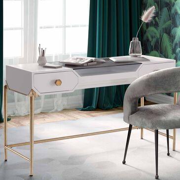 Tov Furniture Bajo Desk in White and Gold, , large