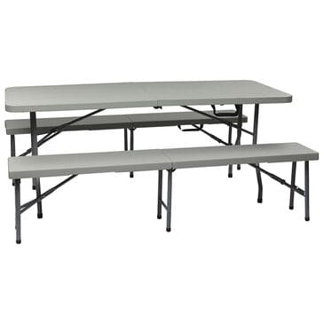 OSP Home 3-Piece Folding Table & Bench Set in Light Grey, , large