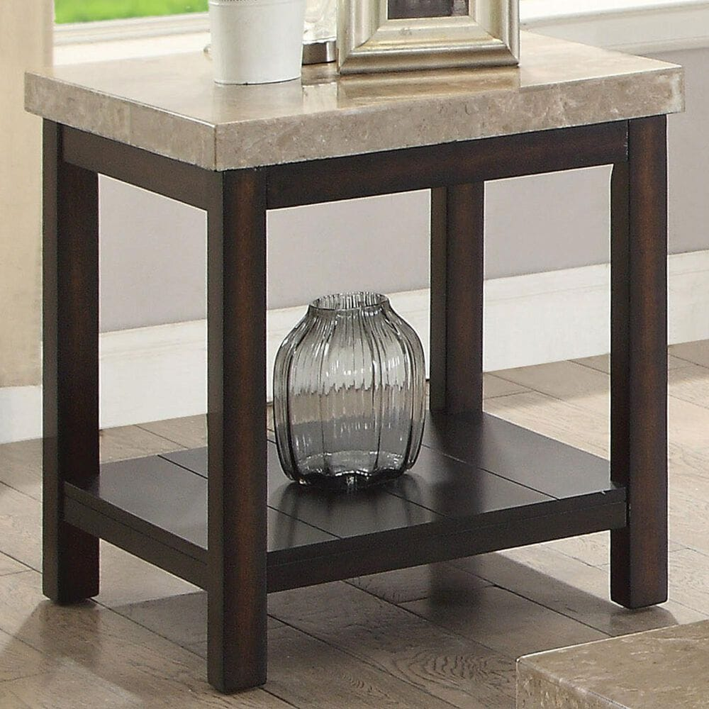 Furniture of America Raven End Table in Dark Walnut and Marble, , large