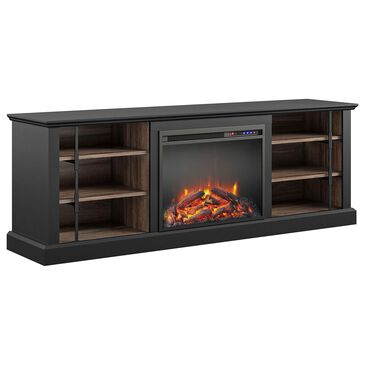 """DHP Hutton 66.5"""" TV Stand with Electric Fireplace in Black, , large"""