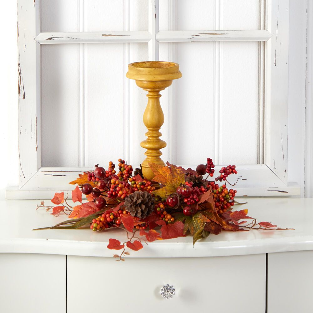 Nearly Natural Inc 15in. Harvest Fall Artificial Candelabrum Arrangement, , large
