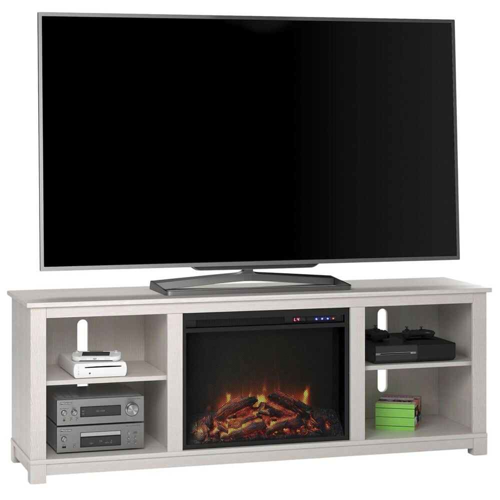 """DHP Rossi 60"""" TV Console with Fireplace in Ivory Pine, , large"""
