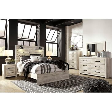 Signature Design by Ashley Cambeck 4 Piece Queen Bed Set in Whitewash with Lighting, , large