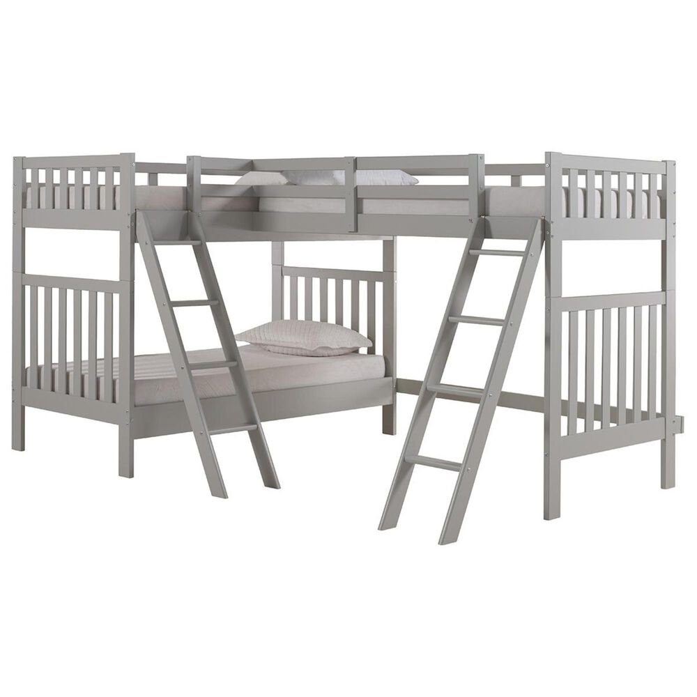 Bolton Furniture Aurora Twin over Twin Bunk Bed with Third Bunk Extension in Dove Gray, , large