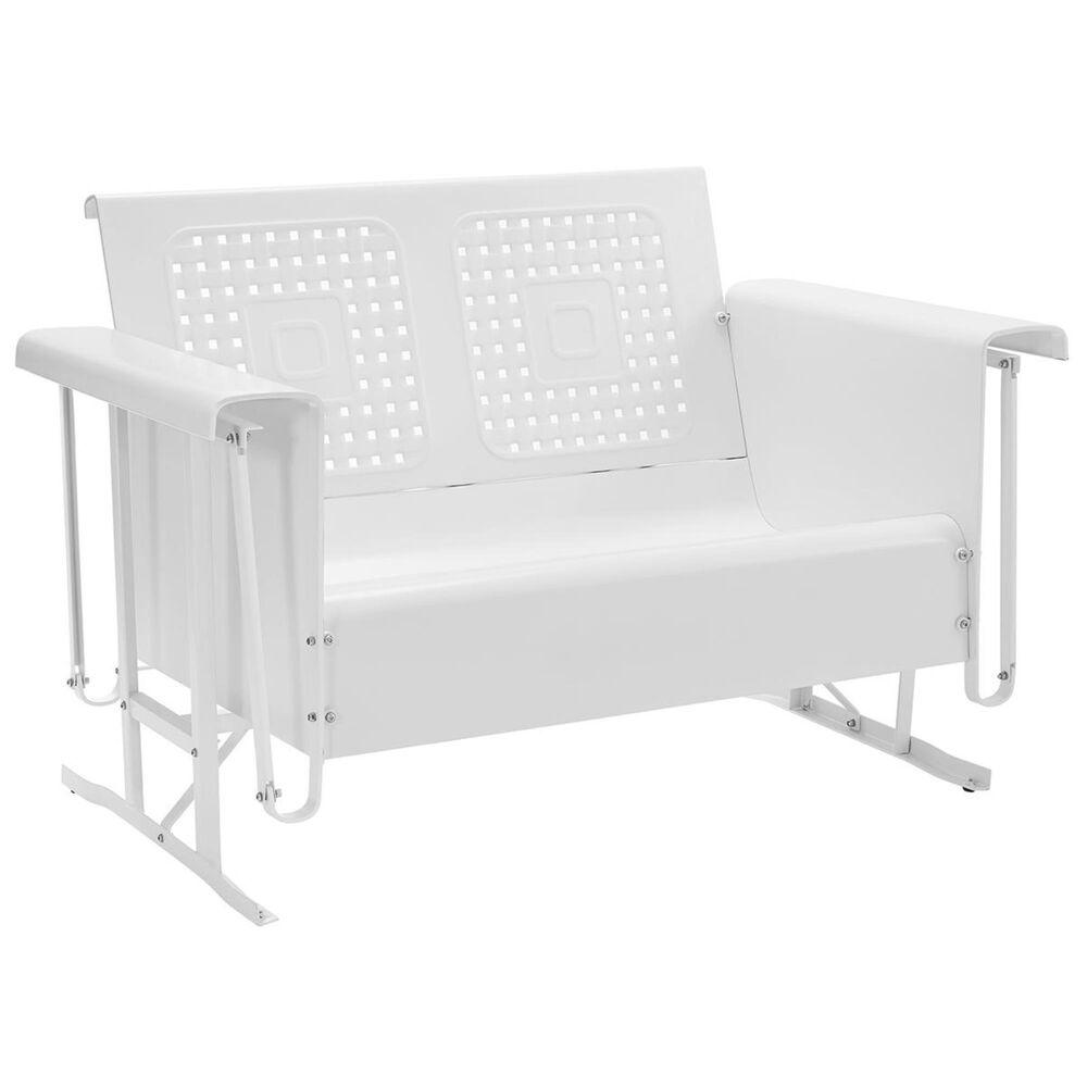 Crosley Furniture Bates Loveseat Glider in White, , large