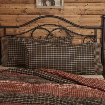 VHC Beckham Farmhouse King Pillow Case Set in Soft Black, , large