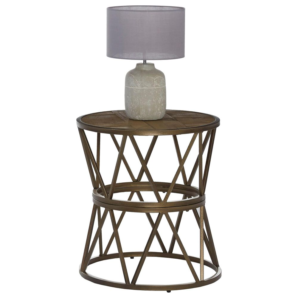 Tiddal Home SoHo End Table in Antique Gold and Natural, , large