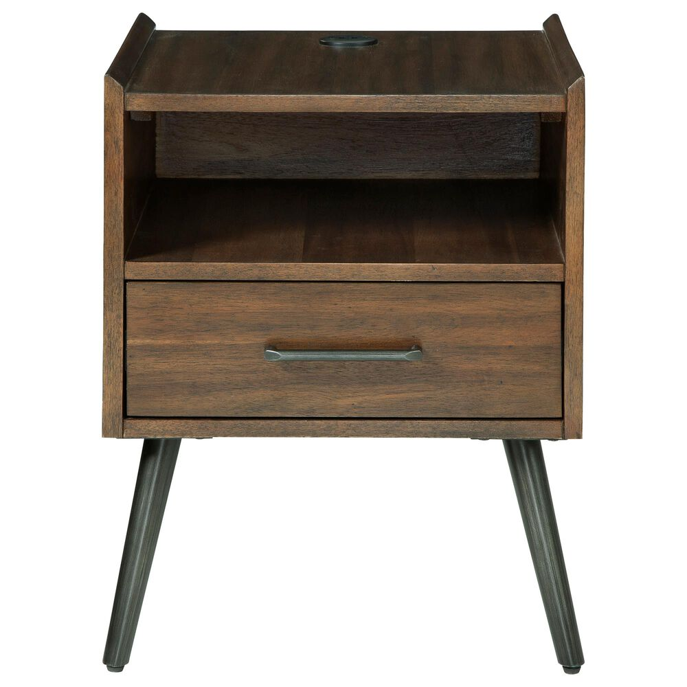 Signature Design by Ashley Calmoni Square End Table with USB Ports in Brown, , large