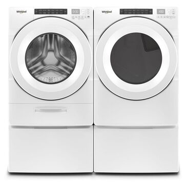 Whirlpool 4.5 Cu. Ft. Front Load Washer and 7.4 Cu. Ft. Electric Dryer with Pedestal Laundry Pair in White, , large