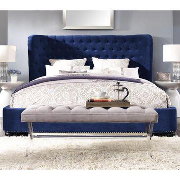 Tov Furniture Finley Queen Platform Bed in Blue Velvet , , large