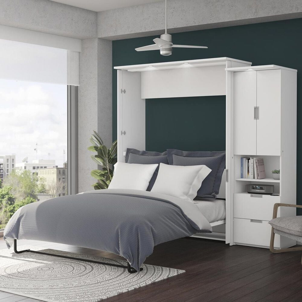 Bestar Lumina 2 Piece Queen Wall Bed in White, , large