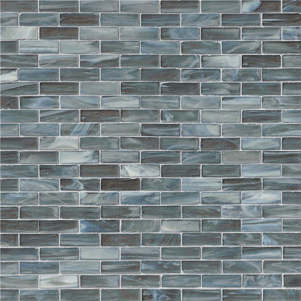 "MS International Oceano Blue and Gray 12"" x 12"" Glass Mosaic Sheet, , large"