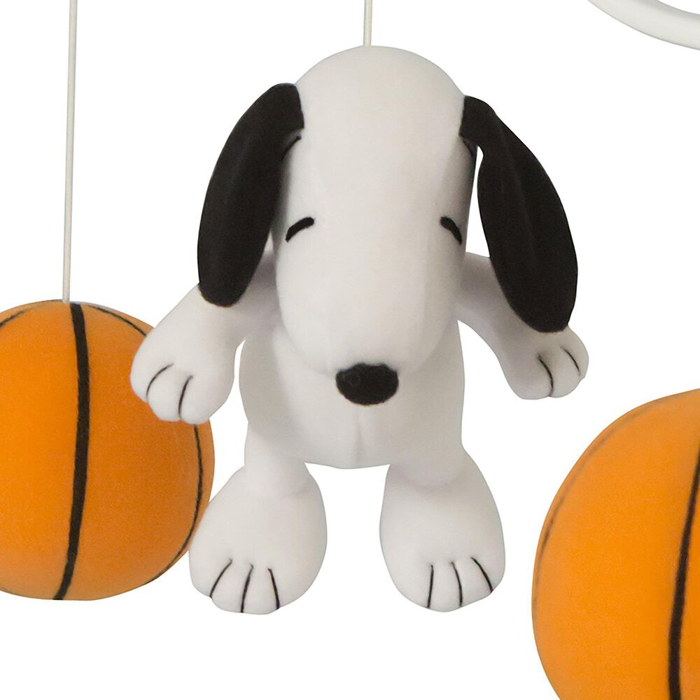 Lambs and Ivy Snoopy Sports Musical Baby Crib Mobile in Black, White and Yellow, , large