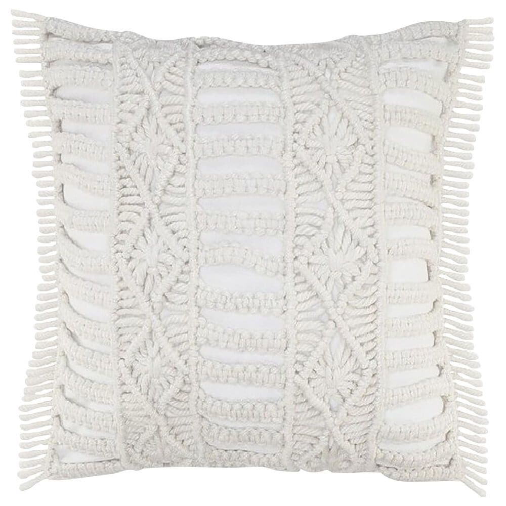 """L.R. RESOURCES Macrame 24"""" x 24"""" Outdoor Throw Pillow in White, , large"""