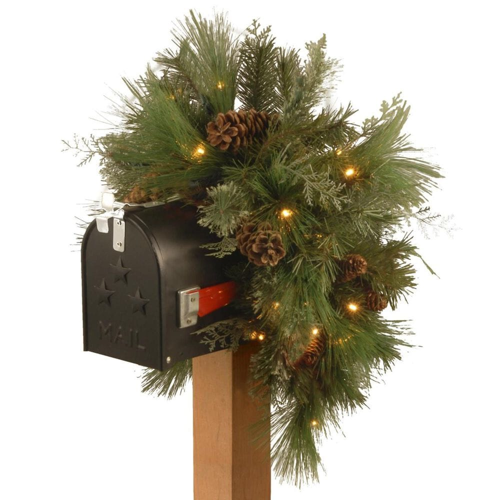 """National Tree 36"""" Decorative Collection White Pine Mailbox Swag with Battery Operated Warm White LED Lights, , large"""