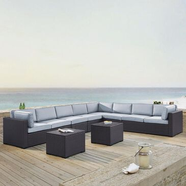 Firefly Biscayne 8 Person Wicker Sectional and Tables in Mist, , large