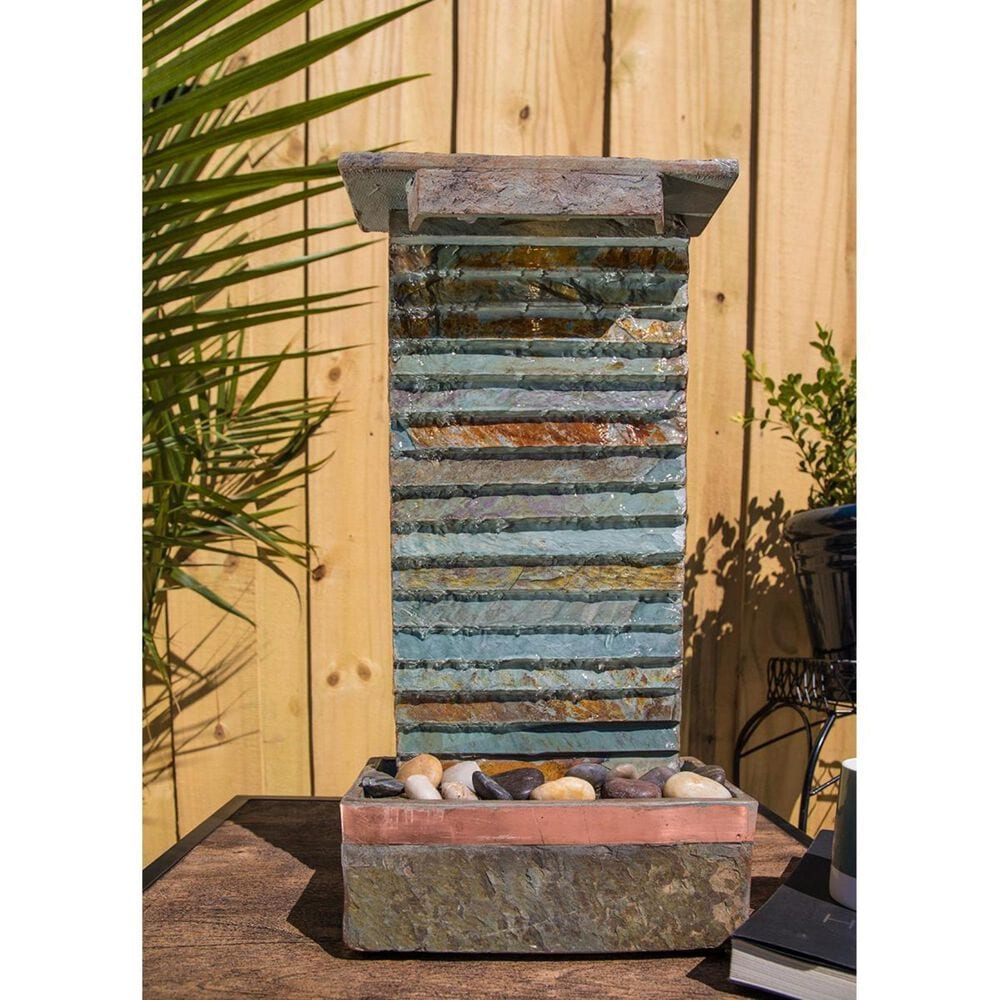 Kenroy Stave Table Lamp Fountain in Slate and Copper, , large