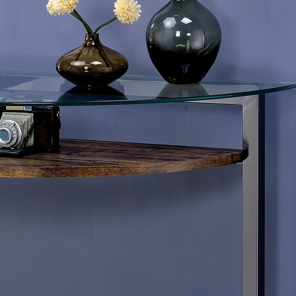 Furniture of America Yoder Console Table in Black, Chrome and Clear, , large