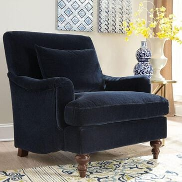 Pacific Landing Accent Chair with Exposed Turned Leg in Midnight Blue, , large