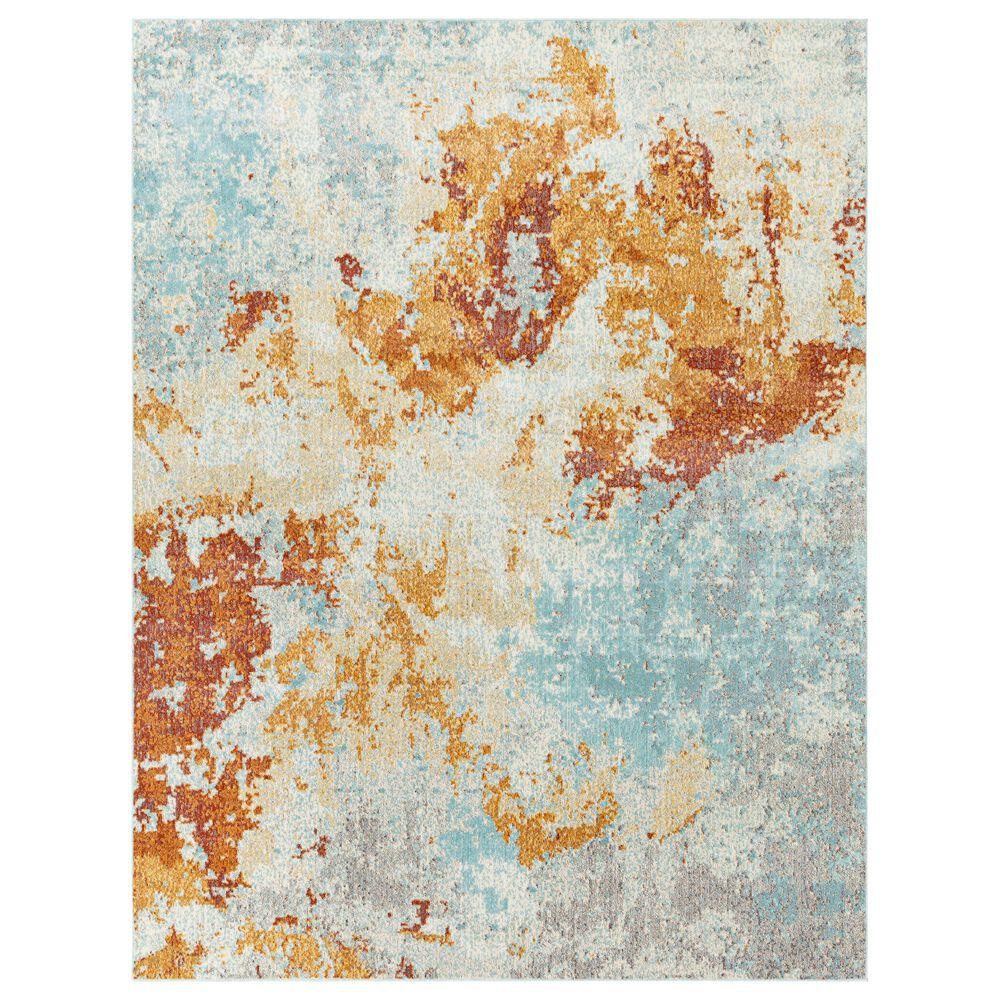 "Surya Bodrum 8'10"" x 12' Orange, Saffron, Gray and Blue Area Rug, , large"