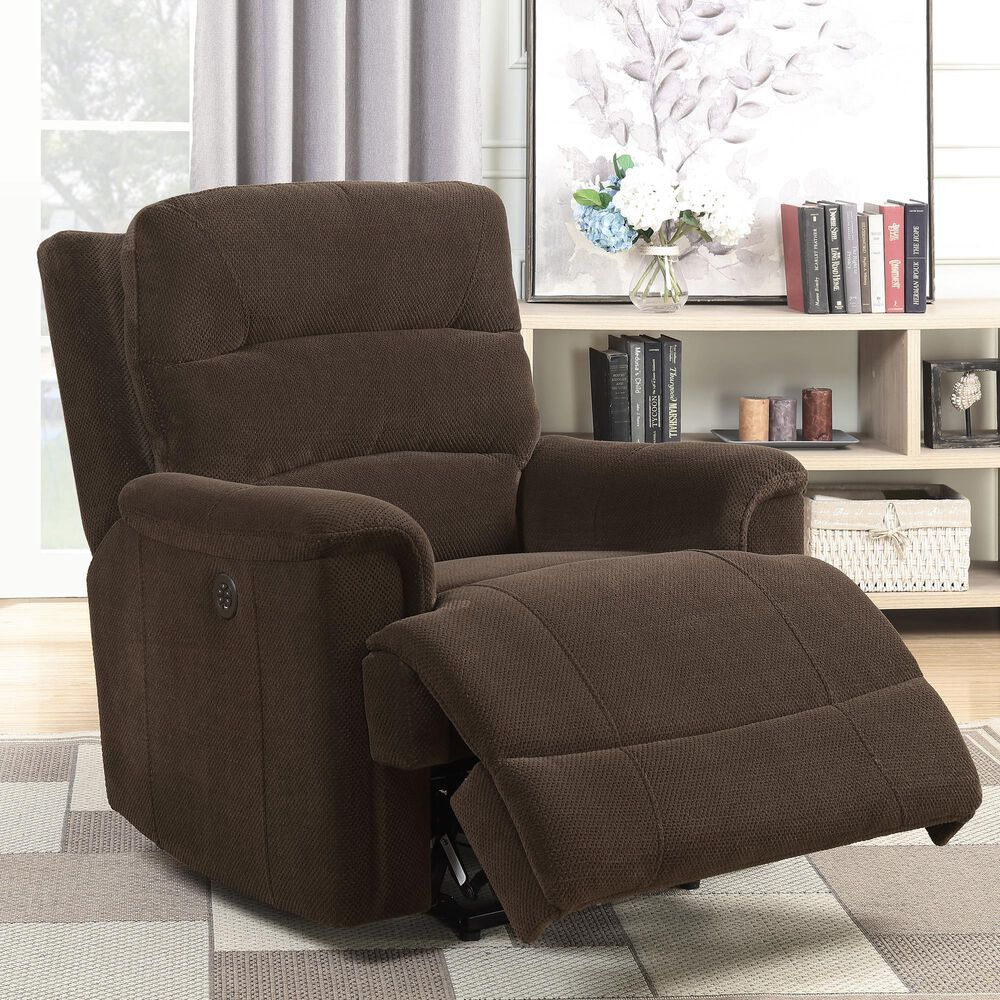 Accentric Approach Power Recliner with USB Charger in Chocolate Brown, , large