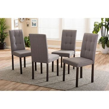 Baxton Studio Andrew Upholstered Dining Chair in Grey - Set of 4, , large