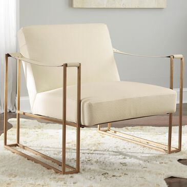 Signature Design by Ashley Kleemore Leather Accent Chair in Cream, , large
