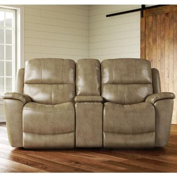Flexsteel Cade Leather Power Reclining Console Loveseat with Headrest in Sand, , large