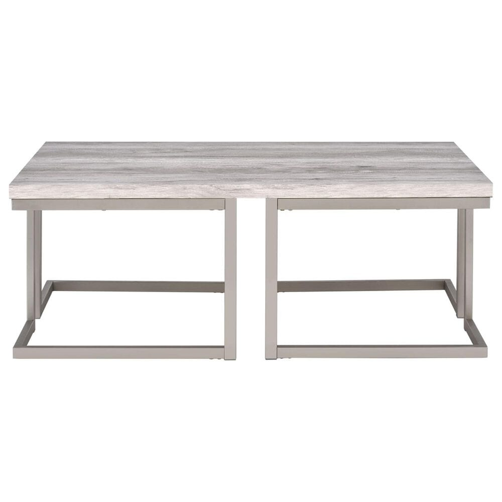 Crystal City David Cocktail Table in Pewter and Driftwood, , large