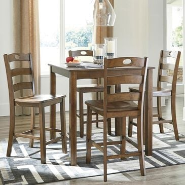 Signature Design by Ashley Hazelteen 5-Piece Counter Height Dining Set in Tobacco Brown, , large