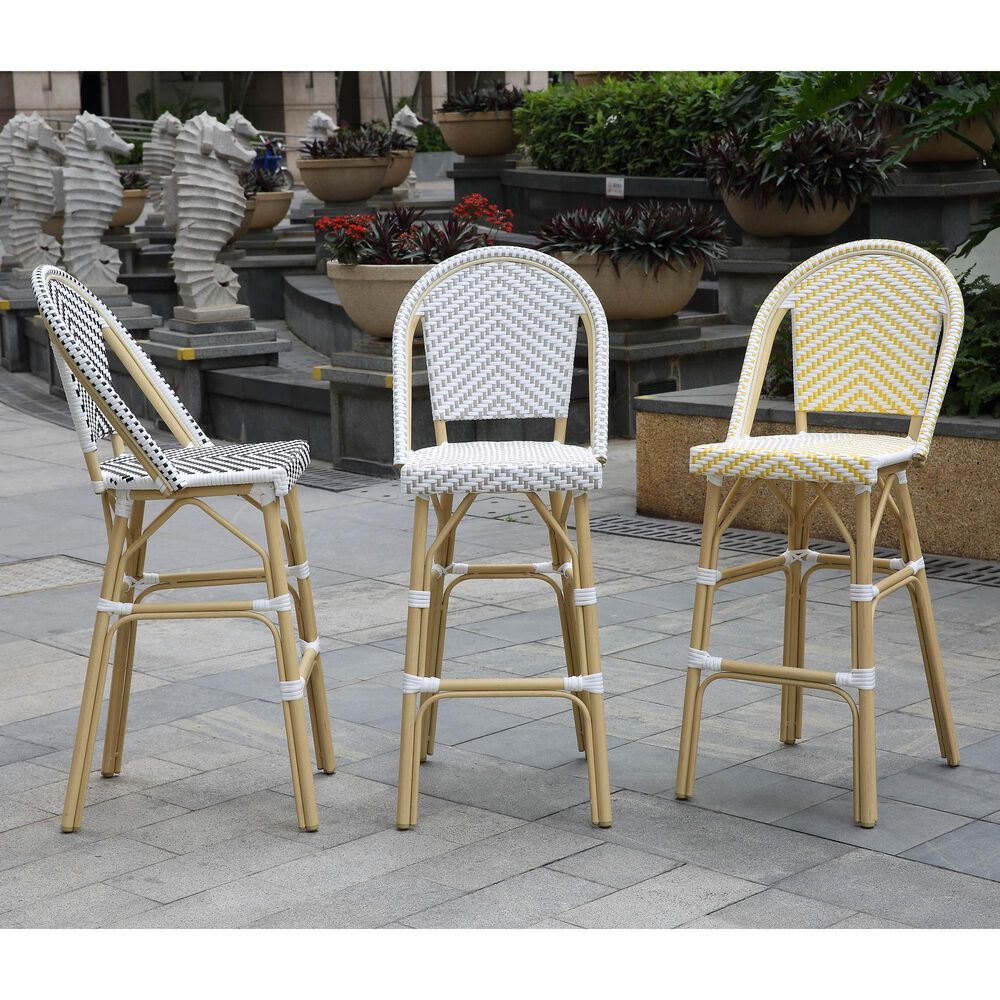 Furniture of America Toby Patio Bar Chair in Yellow/White (Set of 2), , large