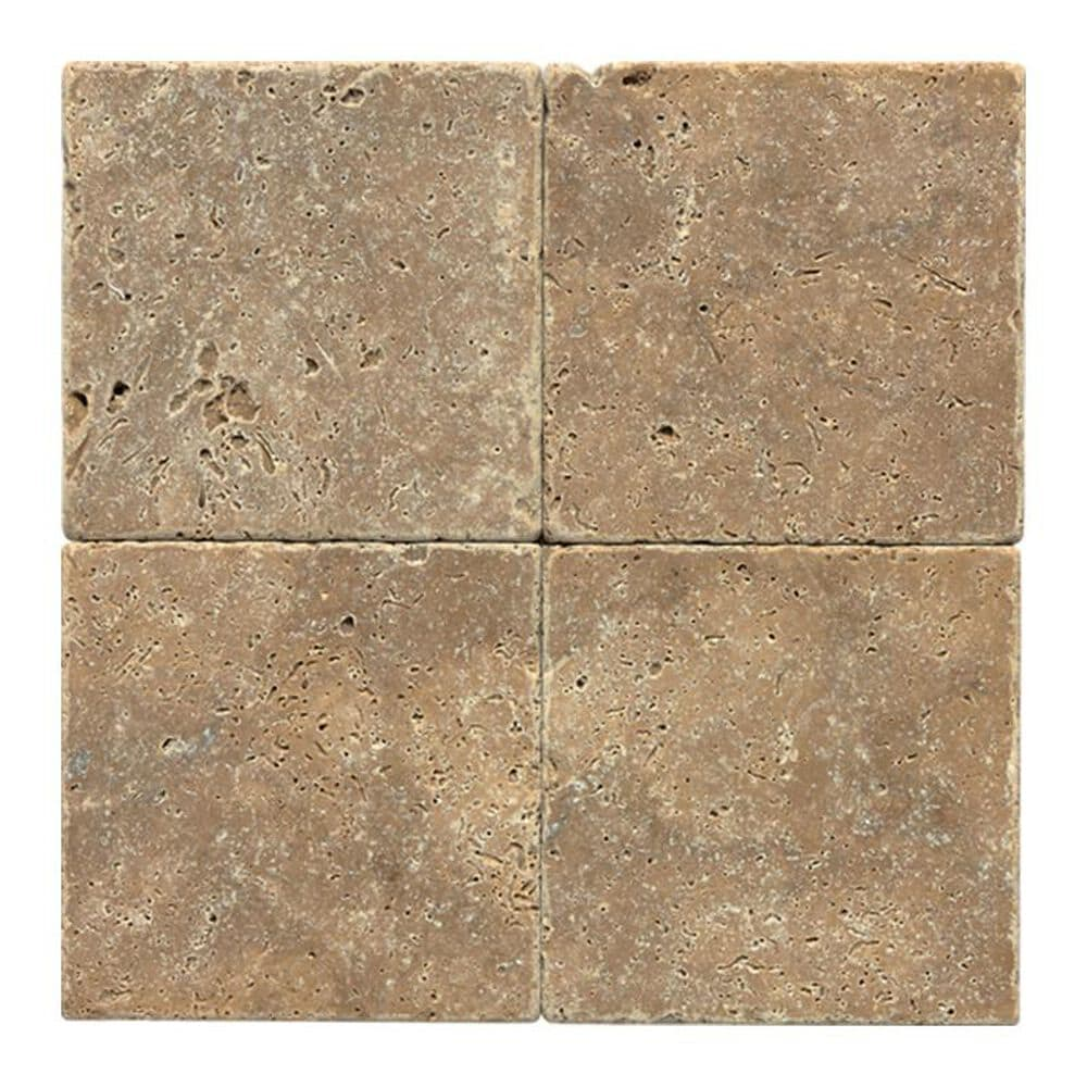 "Dal-Tile Travertine 4"" x 4"" Tumbled Field Tile in Noce, , large"