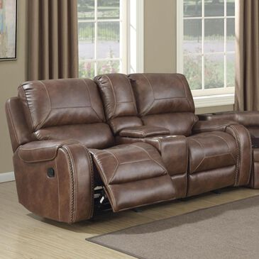 Prime Resources International Waylon Manual Reclining Gliding Console Loveseat in Mesquite, , large
