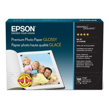 """Epson 100 Sheets Premium Photo Paper Glossy (4"""" x 6""""), , large"""