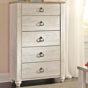 Signature Design by Ashley Willowton Youth 5 Drawer Chest in Whitewash, , large