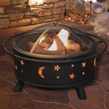 "Timberlake Pure Garden 30"" Round Star & Moon Fire Pit in Black, , large"