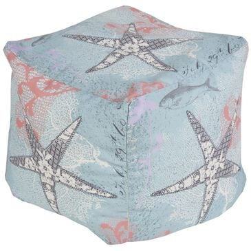 Surya Inc Surya Poufs Cube Pouf in Blue Star Fish, , large