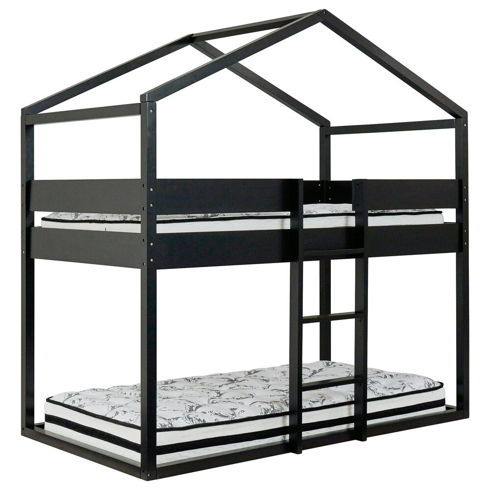 Signature Design by Ashley Flannibrook Twin over Twin House Loft Bed in Black, , large
