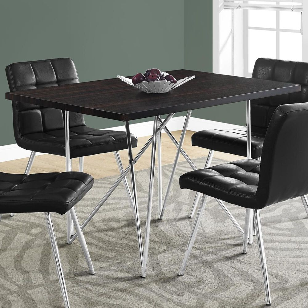 """Monarch Specialties 32"""" x  48"""" Dining Table in Cappuccino and Chrome - Table Only, , large"""