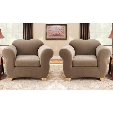 Surefit 2-Piece Box Cushion Chair Slipcover in Taupe, , large