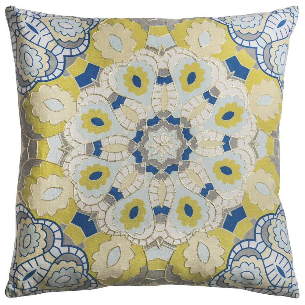 """Rizzy Home 20"""" x 20"""" Pillow Cover in Blue and Yellow, , large"""