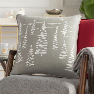"""Surya Inc Holiday Trees 18"""" Toss Pillow in Light Gray and Ivory, , large"""