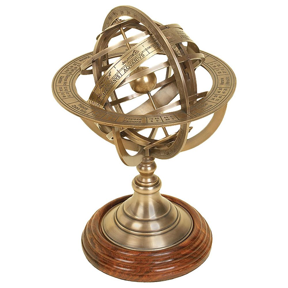 "Maple and Jade 11"" Coastal Brass Globe in Brass, , large"